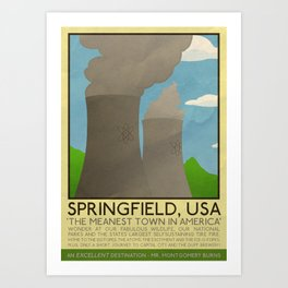 Silver Screen Tourism: SPRINGFIELD, USA / THE SIMPSONS Art Print