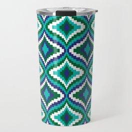 Blue Green Bargello Pattern Travel Mug