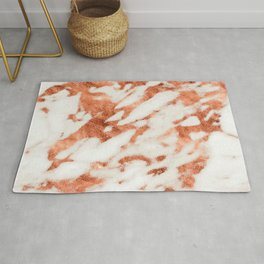 Rose Gold Seared By Fire Marble Pattern Rug