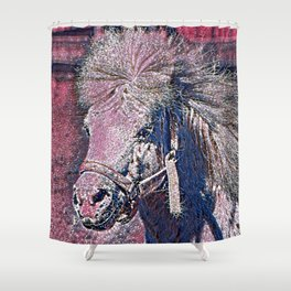 GlitzyAnimal_Horse_001_by_JAMColors Shower Curtain