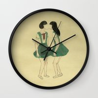 best friend Wall Clocks featuring Best Friend by Yi Gao