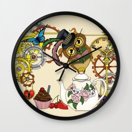 Steampunk Tea Time Owl Wall Clock