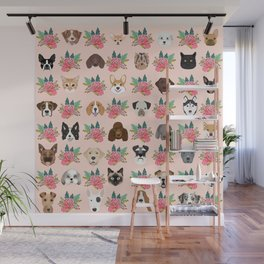 Dogs and cat breeds pet pattern cute faces corgi boston terrier husky airedale Wall Mural