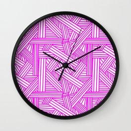 Sketchy Abstract (Magenta & White Pattern) Wall Clock