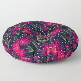New Zealand Rata floral print (Night) Floor Pillow