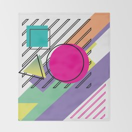 90s Retro Colored Shapes v3 Throw Blanket
