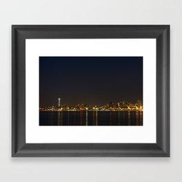 The Seattle, Washington skyline at night Framed Art Print