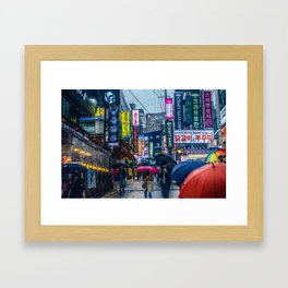Raining in Gangnam Framed Art Print