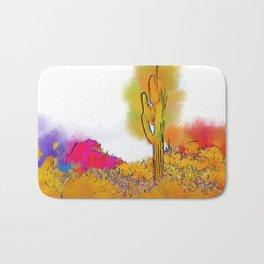 Desert Saguaro In Subtle Abstract Bath Mat