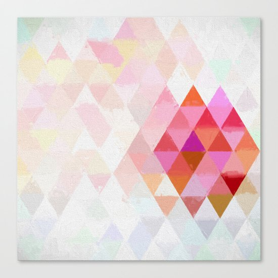 Abstract pink pastell triangle pattern- Watercolor illustration Canvas Print
