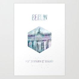 Coordinates BERLIN Brandenburg Gate | jazzy watercolor Art Print
