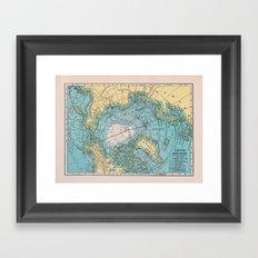 Vintage Arctic Map Framed Art Print