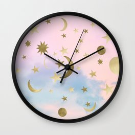 Pastel Starry Sky Moon Dream #1 #decor #art #society6 Wall Clock