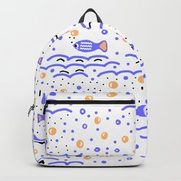 Little Blue Fish in the Sea , Waves and Water with Tiny School of Fishes Pattern Backpack