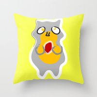 racoon Throw Pillows featuring Racoon by Jessica Slater Design & Illustration