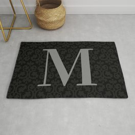 Modern Black Grey Damask Letter M Monogram Rug
