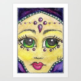 Emerald eyed Habiba in Amethyst Art Print