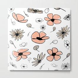Peach and Neutral Flowers Metal Print