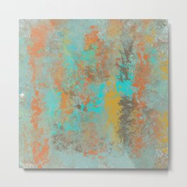Aqua Stone Textured Abstract Metal Print