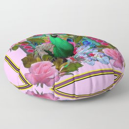 PINK ON  PINK ROSES & GREEN PEACOCK GARDEN FLORAL Floor Pillow