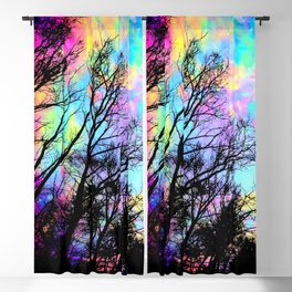 Black Trees Colorful space. Blackout Curtain