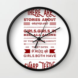girls and wolves Wall Clock