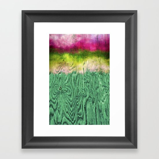 Green Apple Ombre on Wood Framed Art Print