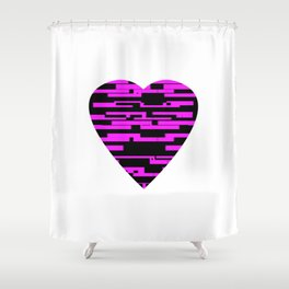 Glitching Hearts — Black and Pink Shower Curtain