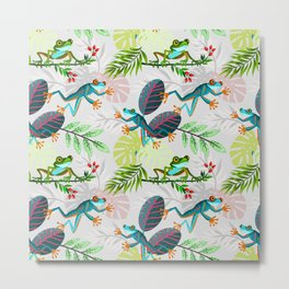 Happy Jumping Frogs on a Tropical Forest Metal Print