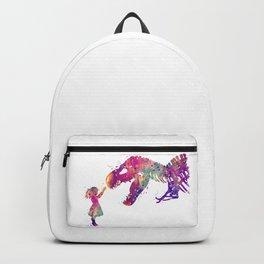 Girl and Dinosaur T-Rex Art Animals Nursery Decor Kids Room Watercolor Print Purple Home Decor Backpack