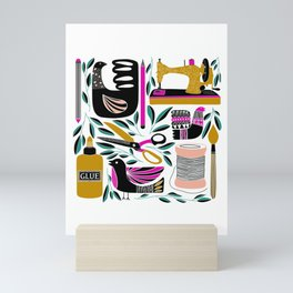 Crafty = Happy // Craft Supplies Folk Art Style Illustration Mini Art Print