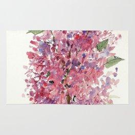 Pink Lilacs Floral Watercolor Garden Flower Nature Art Rug