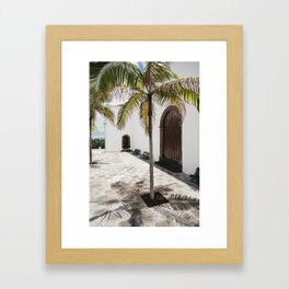 Palm tree growing in the street. La Palma, Canary Island. Framed Art Print