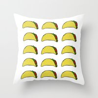 taco Throw Pillows featuring Taco Party by Leah Flores