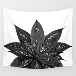 Gray Black Agave with Black Silver Glitter #1 #shiny #tropical #decor #art #society6 Wall Tapestry