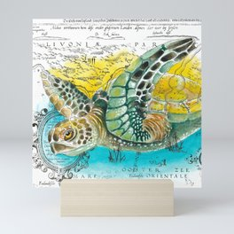 Sea Turtle Watercolor Vintage Map Mini Art Print