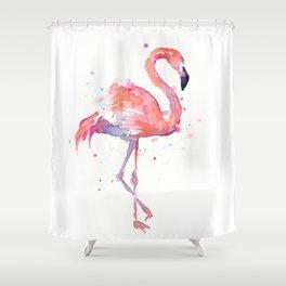 Pink Flamingo Watercolor Tropical Animals Bird Shower Curtain