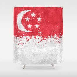 Singapore Flag - Messy Action Painting Shower Curtain