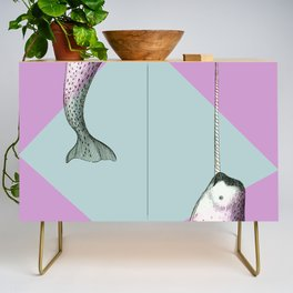 Narwhal Geometric Bright and Colorful Credenza