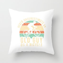 """Biking Tee For Bikers With Unique Awesome Silhouette Of A Biker """"Old Guy On A Bicycle"""" T-shirt Throw Pillow"""