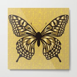 Gold Butterfly on the Gold-leaf Screen Metal Print