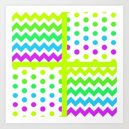 White/Multicolor Cheveron/Polkdot 1 Pattern Lime Green Cyan Magenta Vibrant Zigzag Art Print
