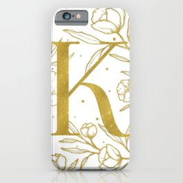 Letter K Gold Monogram / Initial Botanical Illustration iPhone Case
