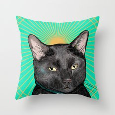 Radiant Sun Cat Throw Pillow