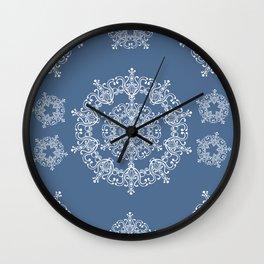 Blue winter. White snowflakes. Wall Clock