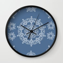 Blue winter. White snowflakes. Wall Clock