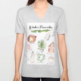 Winter Favorites in Watercolor Unisex V-Neck