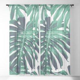 Green tropical leaves Sheer Curtain
