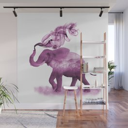 Dark Pink Smoky Clouded Elephant Wall Mural