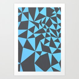cool composition with bluish triangles. Art Print